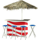 Portable Bar & Stools Thatch Umbrella Tailgate Camping  Outdoor Choice 2 Styles