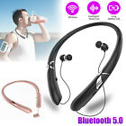Sweatproof Stereo Neckband Headset Wireless Bluetooth Retractable Headphones