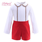 new fashion baby set clothes boy with lace hem collar boutique christmas outfit