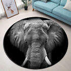 Round Mat African Elephant Black Background Bedroom Carpet Living Room Area Rugs