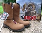 NEW Mens Rocky Brown Leather Waterproof Safety Toe Western Work Boots RKW0171