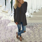 Damen Oberteile Freizeit Pullover Baggy Sweatshirt Stricken Longshirt Tunika Top