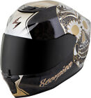 Scorpion Adult Black/Gold EXO-R420 Sugarskull Full Face Motorcycle Helmet Snell