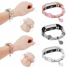 For Fitbit Alta /HR Agate Faux Pearl Beads Elastic Strap Watch Band Wristband image