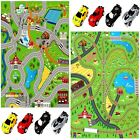 Rexco Giant Kids Playmat Rail Road Carpet Rug Play Mat With Toy Pull Back Cars