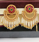 Indian Bollywood Bahubali Style Antique Gold Plated Jhumka Jhumki Pearl Earring