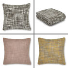 Catherine Lansfield Tonal Weave Blanket Throw/Cushion Cover - Grey, Pink, Yellow