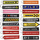 1 Pc Biker Motorcycle Letter Embroidery Keychain Fabric Ribbon Key Ring KeyTag