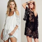 Women's Bathing Suit Cover up, Beach Bikini Swimsuit,Off-Shoulder Lace Swimwear
