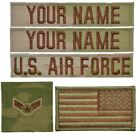 Внешний вид - 5 Piece Custom Air Force Name Tape & Rank Set USAF OCP Flag w/ Hook Fastener Bac