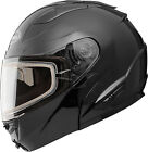 GMAX GM64S Solid Black Electric Shield Modular Full Face Snowmobile Helmet