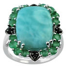 Larimar 10.25 Ct Ring Gemstone Emerald & Black Spinel 925 Silver Fashion Jewelry