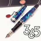 Aurora Limited Edition Optima 365 Blue Marble Silver Trim 18K Fountain Pen