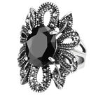 Women Vintage Black Oval Stone Rings Antique Silver Color Party Crystal Jewelry