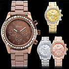New Fashion Geneva Women Girl Unisex Crystal Stainless Steel Quartz Wrist Watch image