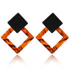 Women Boho Geometric Dangle Drop Hook Acrylic Resin Ear Stud Earrings Jewelry