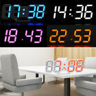 New LED Digit Table Wall Clock Large 3D Display Alarm Clock Brightness Dimmer