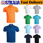 Men Half Button Slim Golf Sports Basic Polo Collar T Blank Shirts Short Sleeve