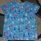 Christmas V Neck Scrub Top Bottom Pocket Reindeer Tree Snowman Print XS to XL