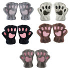 Winter Soft Plush Bear Cat Paw Claw Short Half Finger Gloves Cover Mittens New