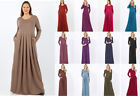 1X 2X 3X Soft Knit Maxi Dress Long Sleeves Pleated Waist Pockets Solids Casual