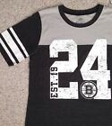 JUNIOR SIZE XL Women BOSTON BRUINS 24 T-SHIRT Charcoal-Gray 1924 Striped Sleeve $8.99 USD on eBay