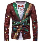 Men Christmas Xmas 3D Print Long Sleeve Casual T-Shirt Tops Tee Blouse Shirt New