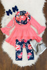 Floral Toddler Kids Baby Girl Cotton Top Dress Pants Leggings Outfits Clothes US