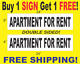 """APARTMENT FOR RENT Black & White 6""""x24"""" 2 Sided REAL ESTATE RIDER SIGNS 1 FREE photo"""