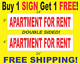"""APARTMENT FOR RENT Red & White 6""""x24"""" 2 Sided REAL ESTATE RIDER SIGNS Get 1 FREE photo"""