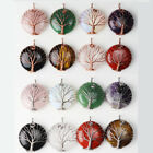 Amethyst Opal Agate Gems Round Button Copper Wire Wrap Tree Of Life Pendant 1pc