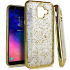 For SAMSUNG GALAXY A6 2018 - Soft TPU Rubber Skin Case Cover Sparkle Bling Foil
