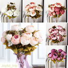 13 Heads Vintage Artificial Fake Peony Silk Flowers Bouquet Party Home Decor