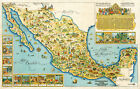 Early Pictorial Map of Mexico Wall Art Print Poster Decor Vintage History