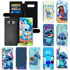Cute Disney Cartoon Stitch Wallet Card Holder PU Leather Case For Samsung Galaxy