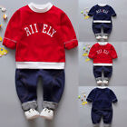1Set Toddler Kids Boys Girl Letter Long Sleeve T-shirt+Pants Outfit Multi-Style