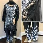 Pakistani Black & Gray Silk & Net Low High Style Suit, with Thread Embroidery
