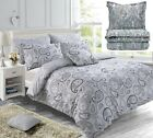 NEW PAISLEY PIERIDAE GREY REVERSIBLE DUVET/QUILT COVER BEDDING SET & PILLOWCASES
