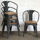Metal Dining Bistro Chair Restaurant Industrial Tolix Seat Cafe Kitchen Stacking
