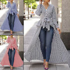 Womens Long Sleeve Irregular Long V-Neck Shirt Blouse High Low Tunic Tops Dress
