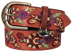 Equine Couture Veronica Leather Belt Colorful Embroidered Floral Pattern
