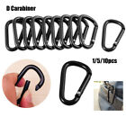Black Climbing Button Camping Hiking Hook Buckle Keychain Alloy Carabiner