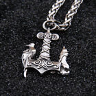Crow Raven God Thor Hammer Armour Necklace Howl Wolf Pendant Weapon Mjolnir