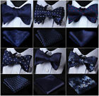 21 Style Men's Navy Blue Self Bow Tie Set Woven Silk Pocket Square Party Wedding $9.27 CAD on eBay