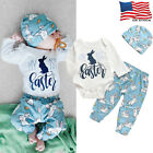 USA Newborn Baby Boys Girls Bunny Romper Long Pants Hats Easter Outfits Clothes
