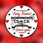 Personalised wall glass clock photo/text/numbers  Valentines Day, Birthday, Anni