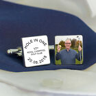 Personalised Silver Plated HOLE IN ONE Cufflinks Golf Gift Dad Granddad