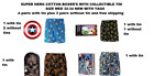 SUPER-HERO NOVELTY COTTON BOXER WITH COLLECTIBLE TIN SIZE MED 32-34 NEW-TAGS