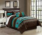 Queen King Bed Teal Blue Coffee Brown Southwestern Navajo 7 pc Comforter Set image