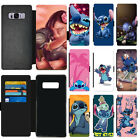 Disney Cartoon Lilo & Stitch Flip Wallet PU Leather Phone Case Cover For Samsung